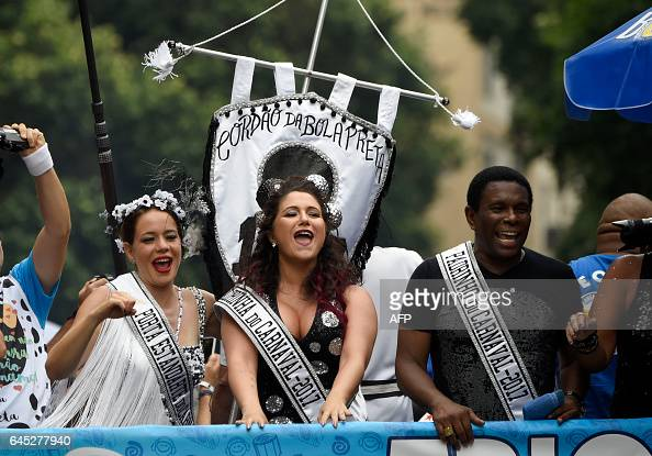 Revellers take part in the 'Cordao do Bola Preta' traditional carnival band parade in downtown Rio de Janeiro Brazil on February 25 2017 Carnival was...