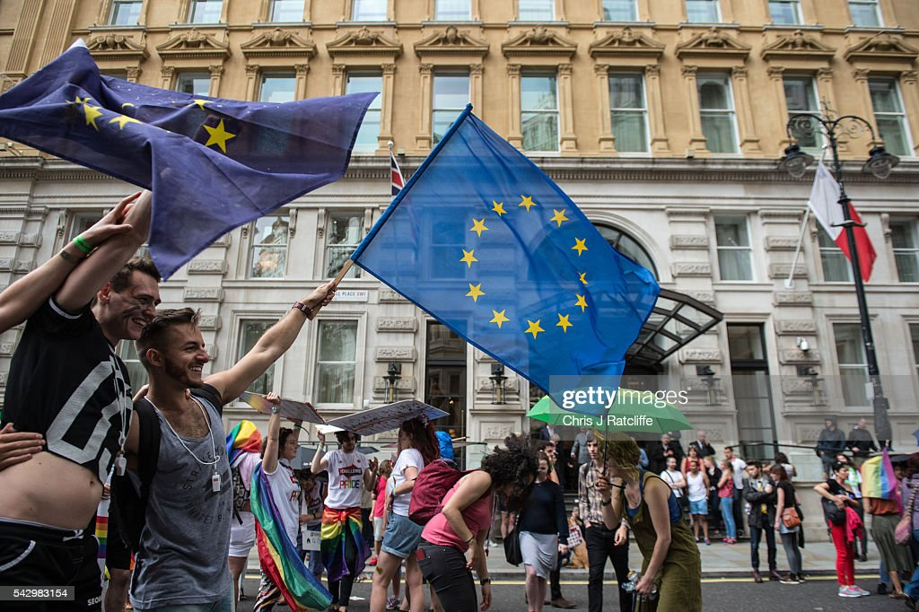 Revellers wave European Union flags during Pride march as the LGBT community celebrates Pride in London on June 25, 2016 in London, England. Across the city performances and speeches take place as a parade makes it way through the centre ending in Trafalgar Square. 2016 Pride in London comes just two weeks after Omar Mateen shot dead 50 people at Pulse, a gay nightclub in Orlando, Florida.