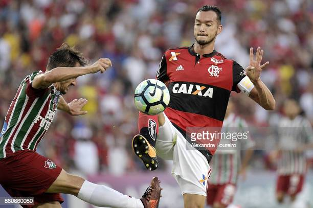 Rever of Flamengo battles for the ball with lUCAS of Fluminense during the match between Flamengo and Fluminense as part of Brasileirao Series A 2017...