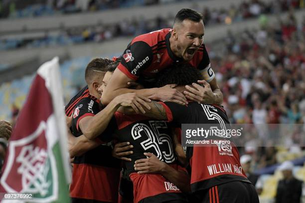Rever of Flamengo celebrates a scored goal by Diego during the match between Fluminense and Flamengo as part of Brasileirao Series A 2017 at Maracana...