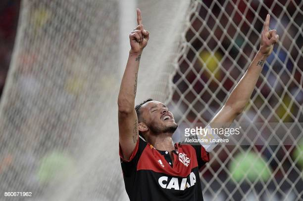 Rever of Flamengo celebrates a scored goal during the match between Flamengo and Fluminense as part of Brasileirao Series A 2017 at Maracana Stadium...
