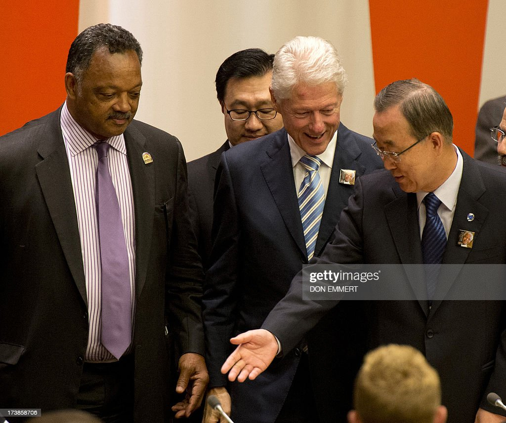 Reverand Jesse Jackson (L), <a gi-track='captionPersonalityLinkClicked' href=/galleries/search?phrase=Bill+Clinton&family=editorial&specificpeople=67203 ng-click='$event.stopPropagation()'>Bill Clinton</a> (C), former President of the United States, and United Nations Secretary General Ban Ki-moon during a meeting of the General Assembly on the commemoration of the Nelson Mandela International Day July 18, 2013 at the United Nations in New York. AFP PHOTO/Don Emmert