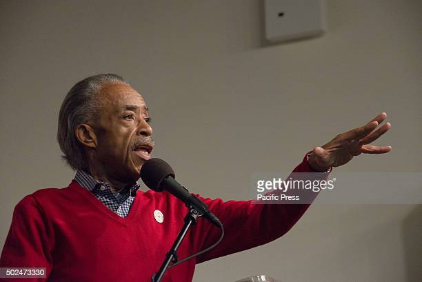 Reverend Al Sharpton addresses attendees of the holiday meal New York City Mayor Bill de Blasio and his daughter Chiara joined Reverend Al Sharpton...