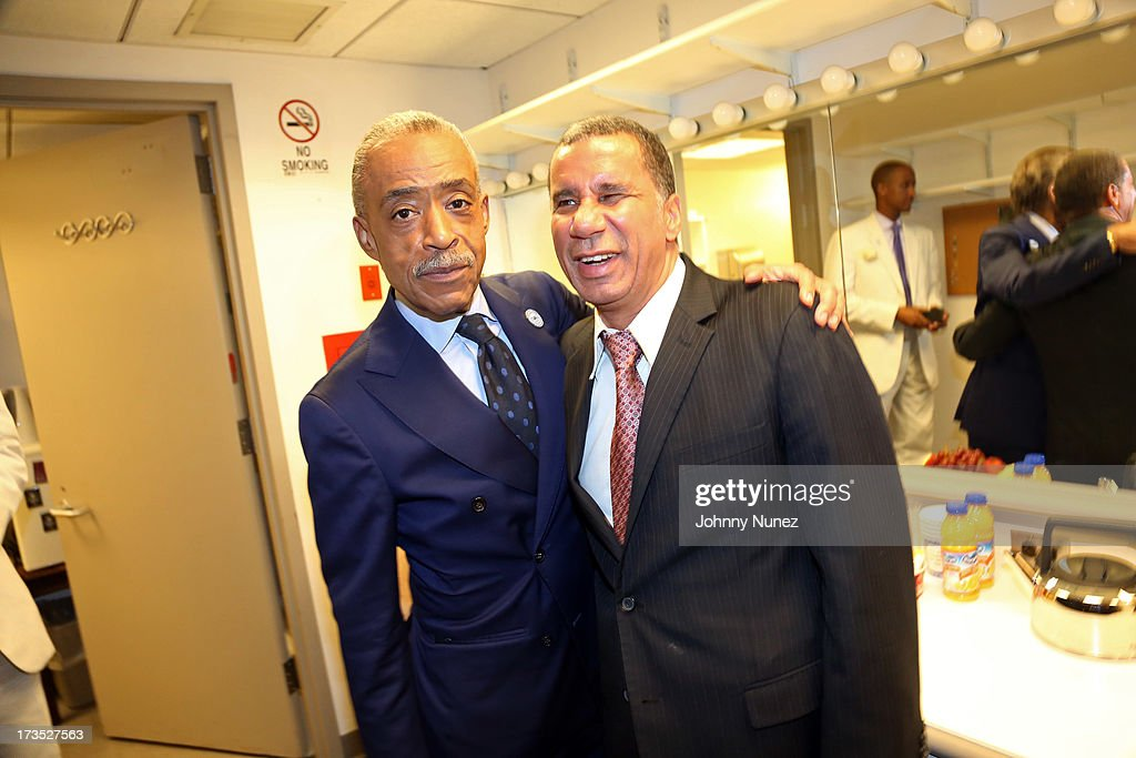 Reverend <a gi-track='captionPersonalityLinkClicked' href=/galleries/search?phrase=Al+Sharpton&family=editorial&specificpeople=202250 ng-click='$event.stopPropagation()'>Al Sharpton</a> and former New York Governor David Paterson attend the New York County Democratic Committee Award Ceremony at American Airlines Theater on July 15, 2013 in New York City.