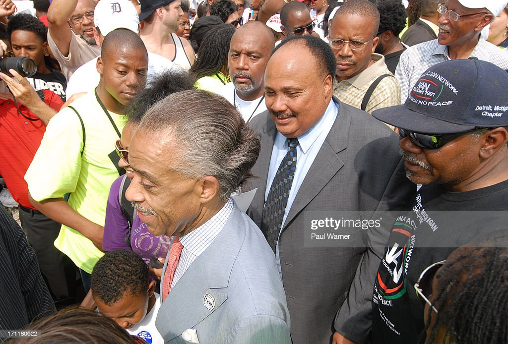 Reverend <a gi-track='captionPersonalityLinkClicked' href=/galleries/search?phrase=Al+Sharpton&family=editorial&specificpeople=202250 ng-click='$event.stopPropagation()'>Al Sharpton</a> (L) and <a gi-track='captionPersonalityLinkClicked' href=/galleries/search?phrase=Martin+Luther+King+III&family=editorial&specificpeople=216411 ng-click='$event.stopPropagation()'>Martin Luther King III</a>, son of slain civil rights activist Reverend Martin Luther King Jr., attends 50th Anniversary Freedom March on June 22, 2013 in Detroit, Michigan.