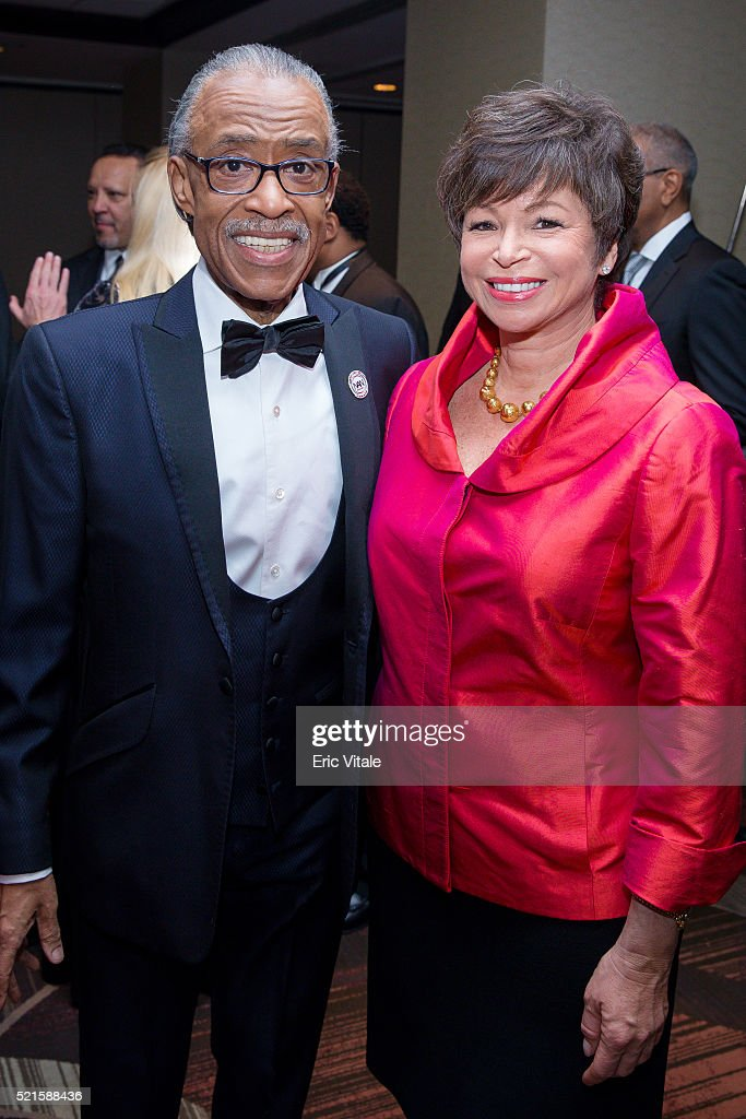 Reverend <a gi-track='captionPersonalityLinkClicked' href=/galleries/search?phrase=Al+Sharpton&family=editorial&specificpeople=202250 ng-click='$event.stopPropagation()'>Al Sharpton</a> and <a gi-track='captionPersonalityLinkClicked' href=/galleries/search?phrase=Valerie+Jarrett&family=editorial&specificpeople=5003206 ng-click='$event.stopPropagation()'>Valerie Jarrett</a>, Senior Advisor to the President of the United States, attend the 2016 NAN 'Keepers Of The Dream' Dinner and Awards Ceremony at the Sheraton New York Hotel & Towers on April 14, 2016 in New York City.