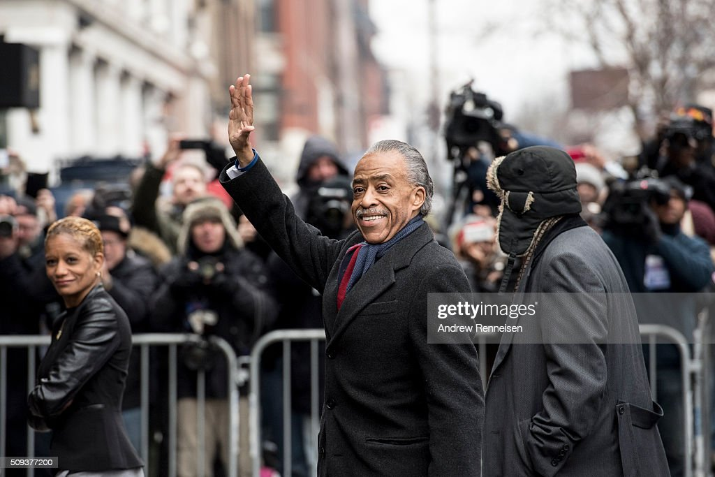 Reverend <a gi-track='captionPersonalityLinkClicked' href=/galleries/search?phrase=Al+Sharpton&family=editorial&specificpeople=202250 ng-click='$event.stopPropagation()'>Al Sharpton</a> arrives at Sylvia's Restaurant to meet with Democratic presidential candidate Sen. Bernie Sanders (D-VT) on February 10, 2016 in the Harlem neighborhood of New York City. The meeting comes after a strong victory for Senator Sanders in the New Hampshire primary.