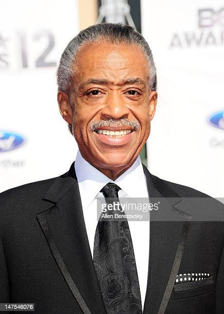 Reverend Al Sharpton arrives at the 2012 BET Awards at The Shrine Auditorium on July 1 2012 in Los Angeles California