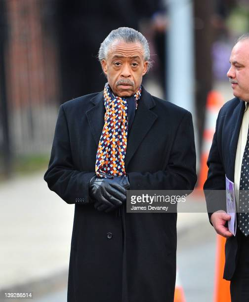 Reverend Al Sharpton leaves the funeral service for Whitney Houston on February 18 2012 in Newark New Jersey Whitney Houston was found dead in her...