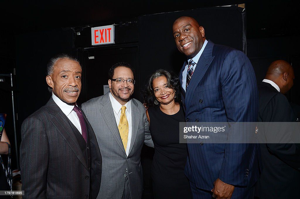 Reverend Al Sharpton, Michael Eric Dyson, Jonelle Procope, Apollo Theater President & CEO and Magic Johnson attend 'Advancing The Dream: Live From The Apollo' Hosted By Reverend Al Sharpton at The Apollo Theater on September 6, 2013 in New York City.