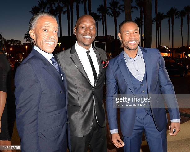 Reverend Al Sharpton singer Tyrese Gibson and guest arrive at Debra Lee's PreBET Awards Celebration during the 2012 BET Awards at Union Station on...
