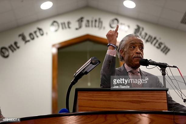Reverend Al Sharpton speaks during a church service at Charity Missionary Baptist Church on April 12 2015 in North Charleston South Carolina Sharpton...