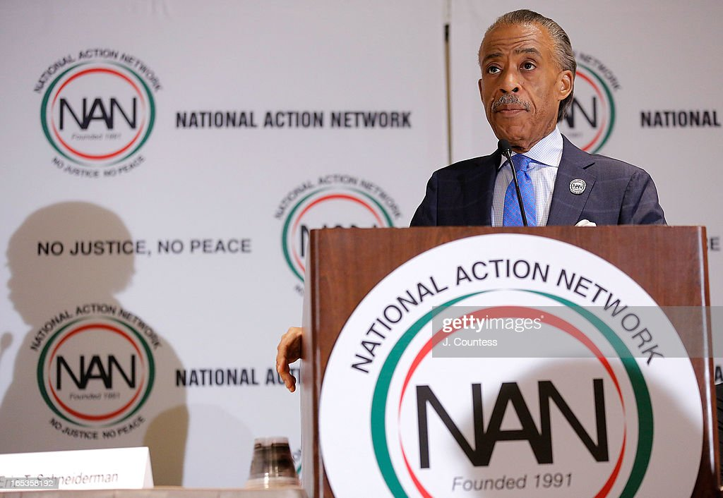 Reverend <a gi-track='captionPersonalityLinkClicked' href=/galleries/search?phrase=Al+Sharpton&family=editorial&specificpeople=202250 ng-click='$event.stopPropagation()'>Al Sharpton</a> speaks prior to the panal 'Gun Violence: Addressing Real Reform' during the 2013 NAN National Convention Day 1 at New York Sheraton Hotel & Tower on April 3, 2013 in New York City.