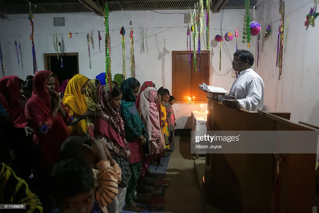 Reverend Barnbash who has received death threats from ISIS leads a service at a village church March 24 2016 in Rangpur Bangladesh Barnbash's name...