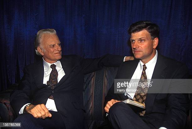 Reverend Billy Graham and son Franklin Graham are photographed for People Magazine in 1996 in Montreat North Carolina