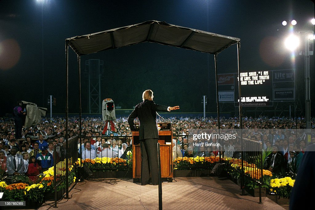 Reverend <a gi-track='captionPersonalityLinkClicked' href=/galleries/search?phrase=Billy+Graham+-+Evangelist&family=editorial&specificpeople=167098 ng-click='$event.stopPropagation()'>Billy Graham</a> is photographed preaching for People Magazine in 1996 in Montreat, North Carolina.