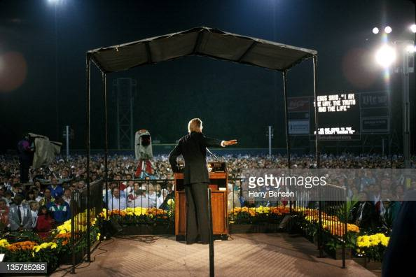 Reverend Billy Graham is photographed preaching for People Magazine in 1996 in Montreat North Carolina