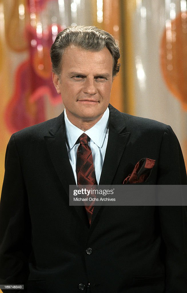Reverend <a gi-track='captionPersonalityLinkClicked' href=/galleries/search?phrase=Billy+Graham+-+Evangelist&family=editorial&specificpeople=167098 ng-click='$event.stopPropagation()'>Billy Graham</a> poses for a portrait during a broadcast of a sermon in circa 1969.