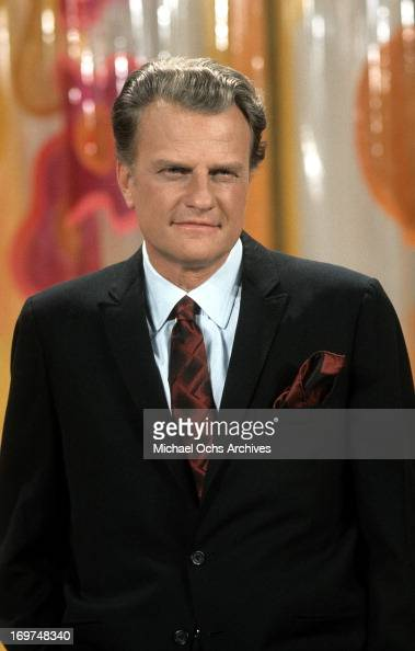Reverend Billy Graham poses for a portrait during a broadcast of a sermon in circa 1969