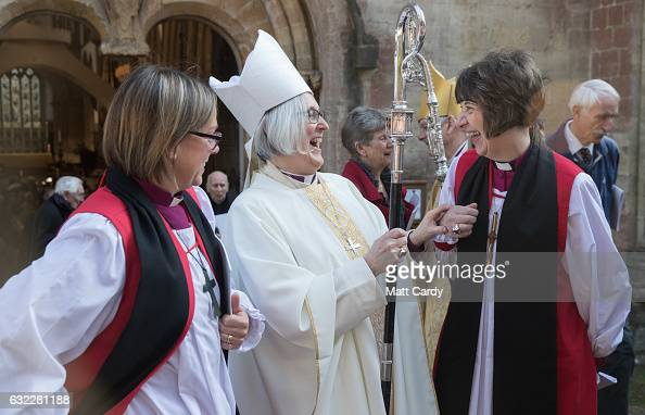 Reverend Canon Joanna Penberthy laughs with fellow female bishops following her consecration as Bishop of St Davids at Llandaff Cathedral on January...