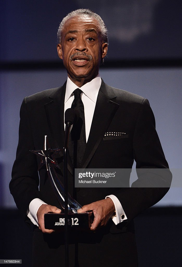 Reverend Dr. <a gi-track='captionPersonalityLinkClicked' href=/galleries/search?phrase=Al+Sharpton&family=editorial&specificpeople=202250 ng-click='$event.stopPropagation()'>Al Sharpton</a> onstage during the 2012 BET Awards at The Shrine Auditorium on July 1, 2012 in Los Angeles, California.