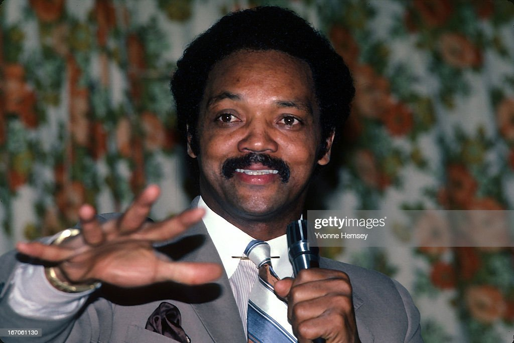 Reverend Jesse Jackson addresses Bronx Baptist Church parishioners October 5, 1983 in New York City. Jackson explains to the crowd he will be making a decision soon whether he will run for the presidency of the United States.