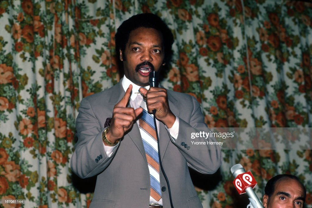Reverend Jesse Jackson addresses Bronx Baptist Church parishioners October 5 1983 in New York City Jackson explains to the crowd he will be making a...