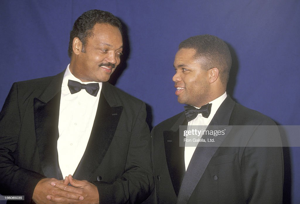 Reverend Jesse Jackson and son Jesse Jackson Jr attends the 25th Annual NAACP Image Awards on January 16 1993 at Pasadena Civic Auditorium in...