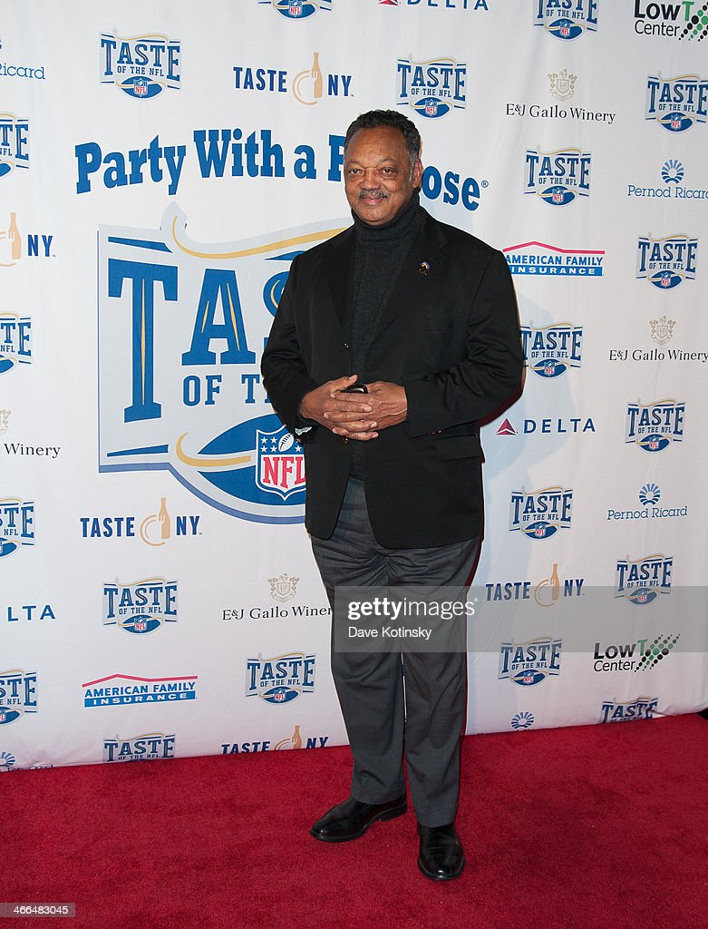 Reverend Jesse Jackson arrives at the Taste Of The NFL 'Party With A Purpose' at Brooklyn Cruise Terminal on February 1, 2014 in New York City.