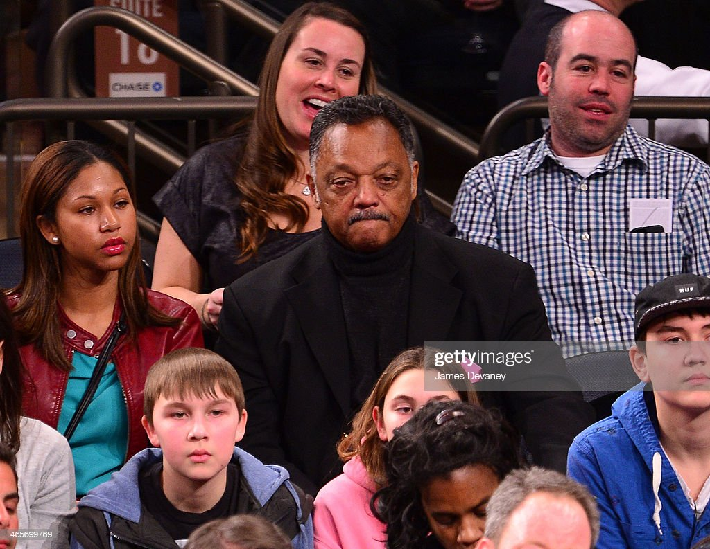 Reverend Jesse Jackson attends the Boston Celtics vs New York Knicks game at Madison Square Garden on January 28, 2014 in New York City.