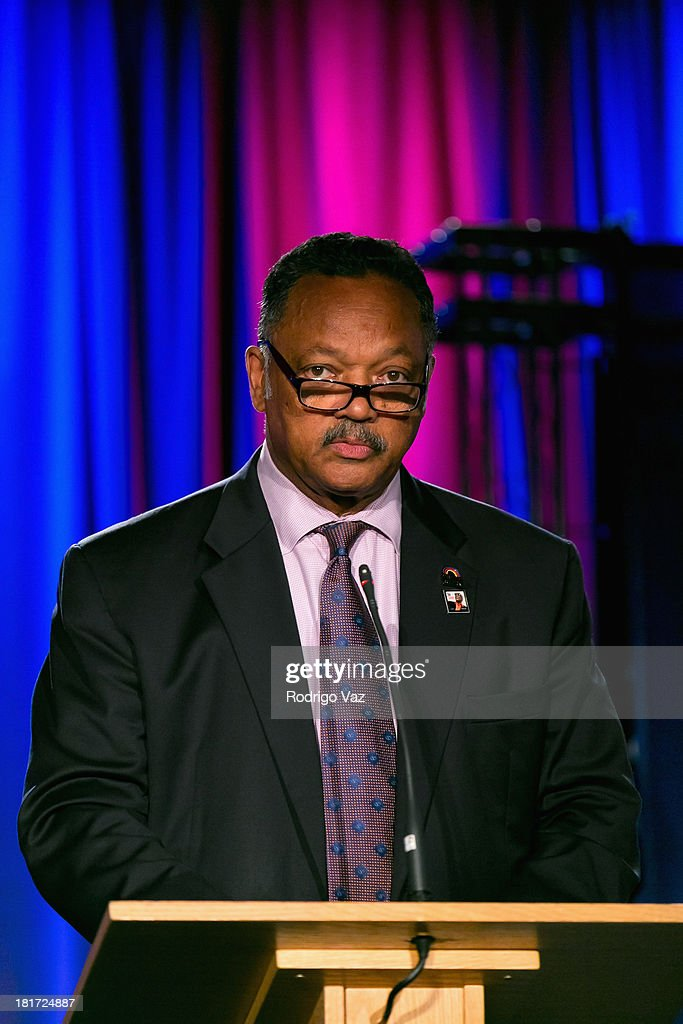 Reverend Jesse Jackson attends the unveiling of a U.S. Postal Service issues Limited-Edition Forever Stamp honoring Ray Charles In Los Angeles at The GRAMMY Museum on September 23, 2013 in Los Angeles, California.