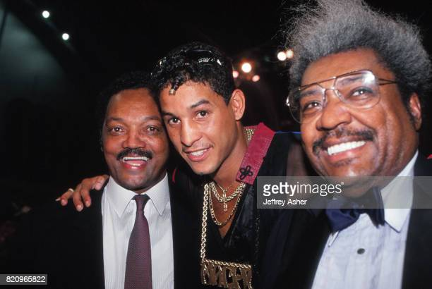 Reverend Jesse Jackson Boxer Hector 'Macho' Comacho and Promoter Don King at Comacho vs Pazienza at Convention Hall in Atlantic City New Jersey...