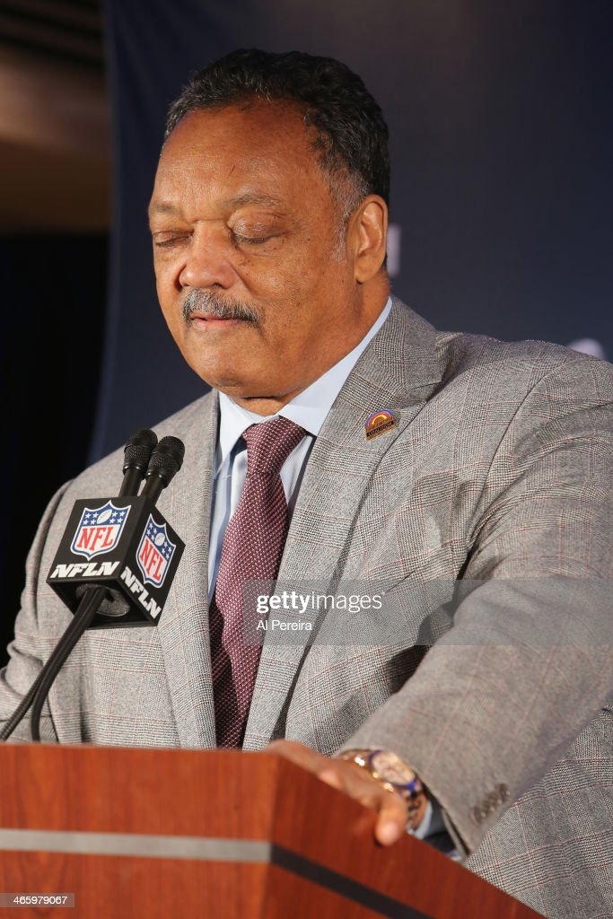 Reverend Jesse Jackson leads a prayer at the Super Bowl Gospel Celebration Concert Press Conference at Super Bowl XLVIII Media Center, Sheraton Times Square on January 30, 2014 in New York City.
