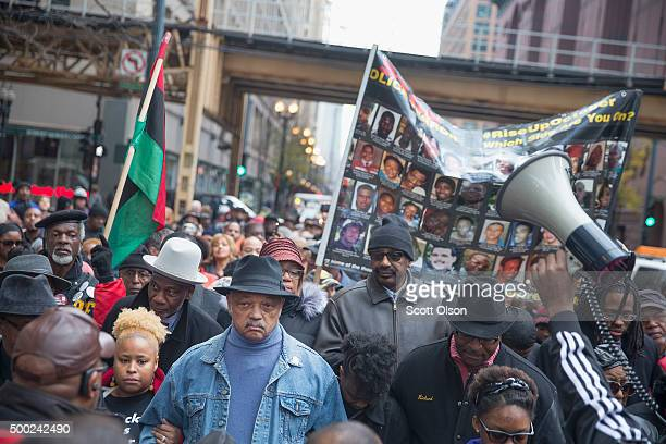 Reverend Jesse Jackson leads demonstrators down State Street to protest the death of Laquan McDonald and the alleged coverup that followed on...