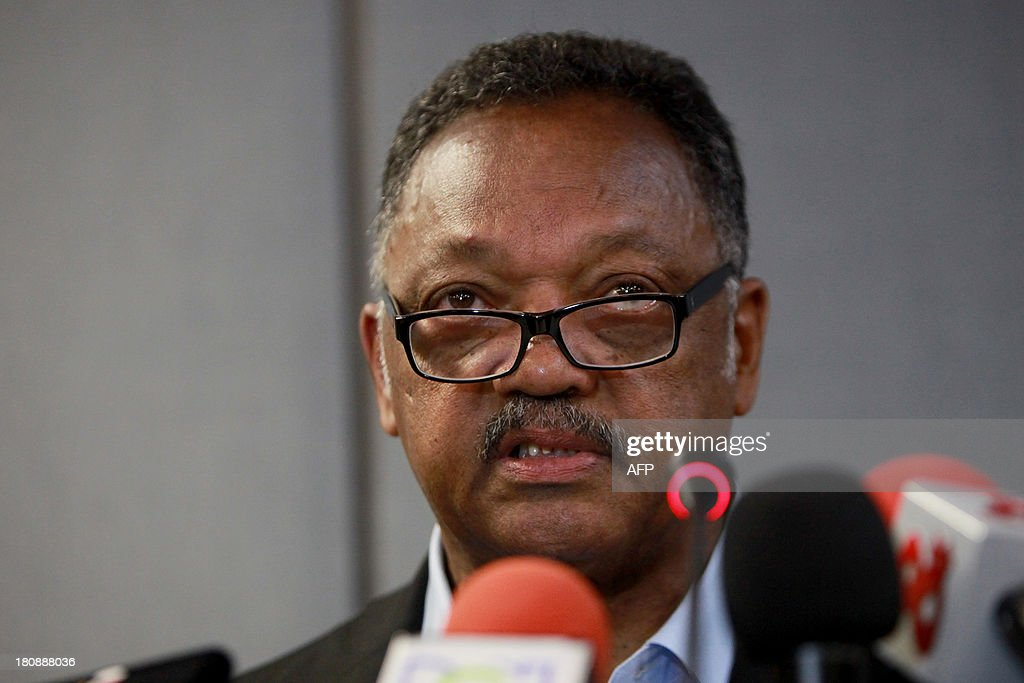 US reverend Jesse Jackson speaks at a press conference during the second part of the Third World Summit of Mayors and Governors of African descent, at the Julio Cesar Turbay Convention Centre in Cartagena, Colombia, on September 17, 2013. AFP PHOTO/Joaquin Sarmiento