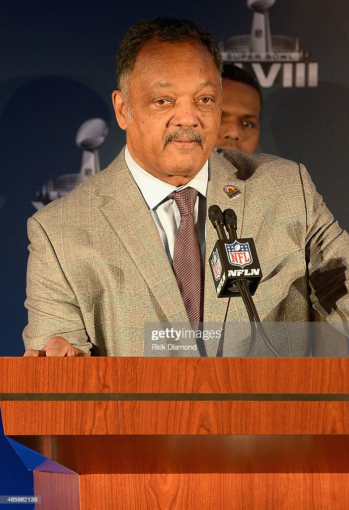 Reverend Jesse Jackson speaks at the Super Bowl Gospel Celebration press conference at Super Bowl XLVIII Media Center, Sheraton Times Square on January 30, 2014 in New York City.
