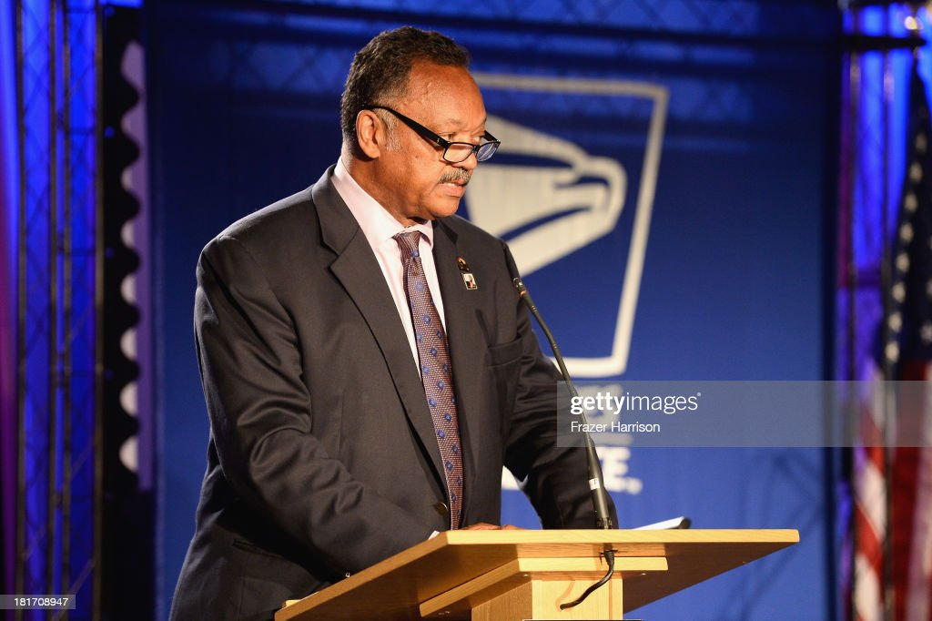 Reverend Jesse Jackson, speaks at the unveiling of the new Ray Charles stamp at the GRAMMY Museum in Los Angeles, Calif, on Monday, September 23, 2013. The limited-edition stamp is part of the Music Icons stamp series and is available for sale starting today, on what would have been his 83rd birthday, at post offices nationwide