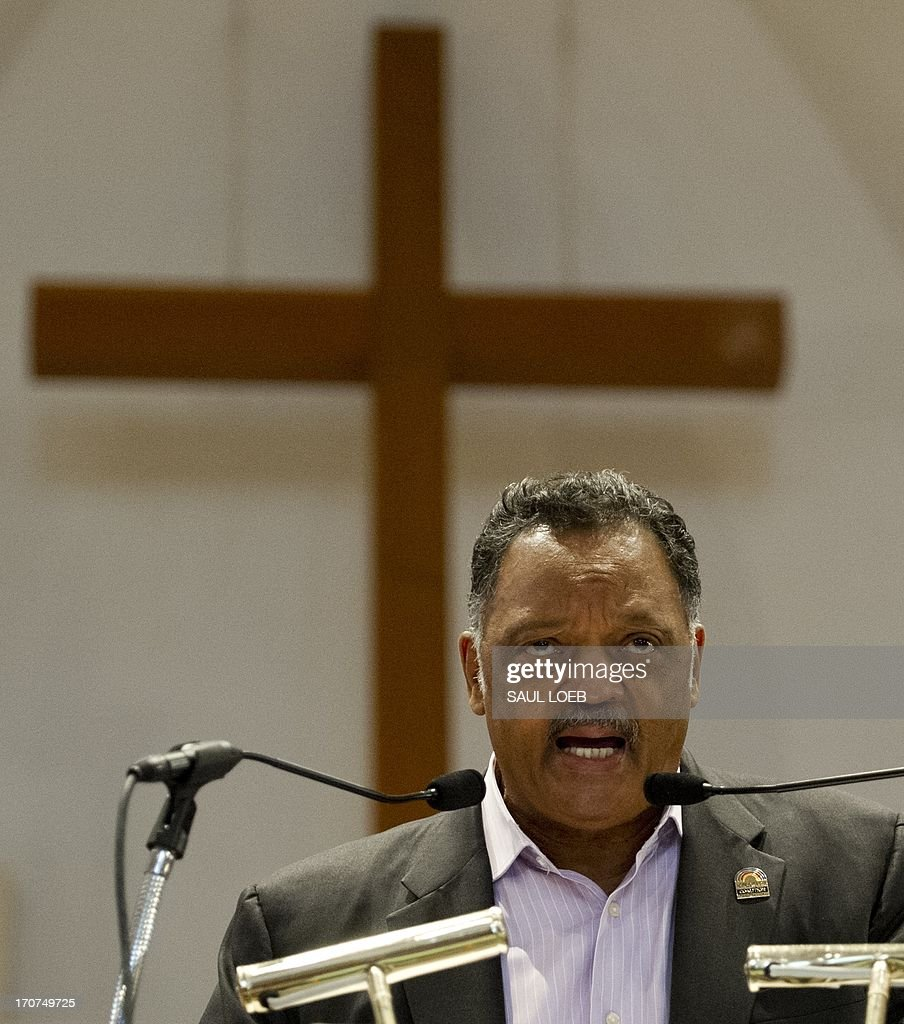 Reverend Jesse Jackson speaks during a 'Day of Direct Action' rally at the Historic Metropolitan African Methodist Episcopal (AME) Church in Washington on June 17, 2013, prior to a protest march to the White House calling on US President Barack Obama to end the so-called 'War on Drugs,' which they say leads to mass incarceration of African Americans, as well as wanting additional investment in jobs and economic development in urban inner-city neighborhoods. AFP PHOTO / Saul LOEB