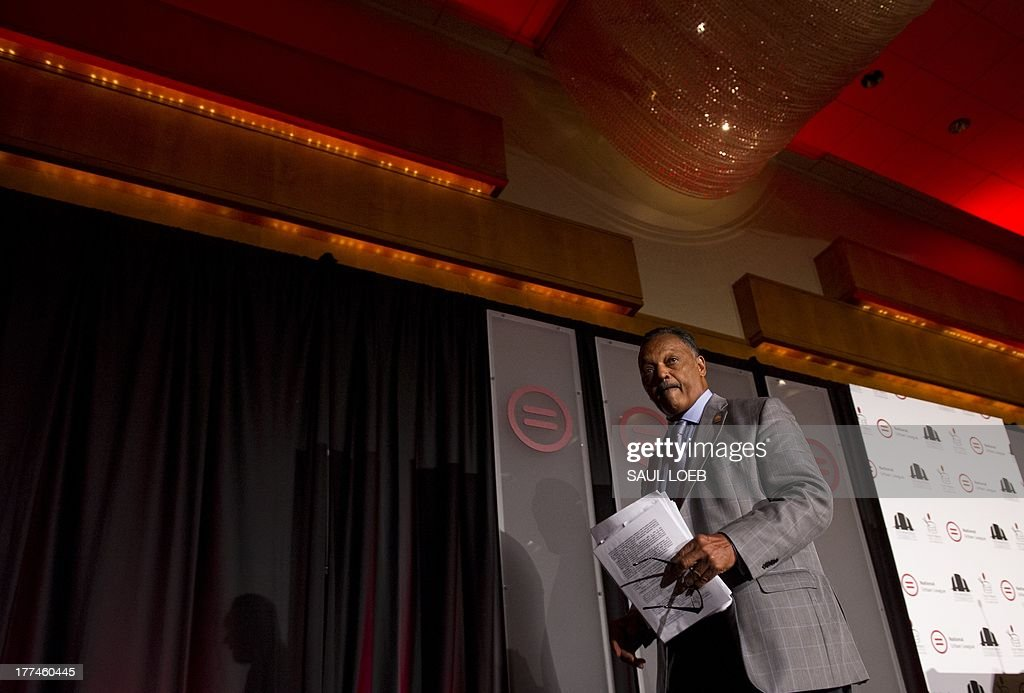 Reverend Jesse Jackson, Sr., founder of the Rainbow/PUSH Coalition, leaves after speaking during the National Urban League's 'Redeem the Dream Summit' commemorating the 50th Anniversary of the March on Washington in Washington, DC on August 23, 2013. On Saturday, thousands are expected to participate in a march along the original 1963 route, and on August 28, US President Barack Obama takes the stage on the 50th anniversary of the march and Dr. Martin Luther King Jr.'s historic 'I have a dream' speech from the steps of the Lincoln Memorial. AFP PHOTO / Saul LOEB