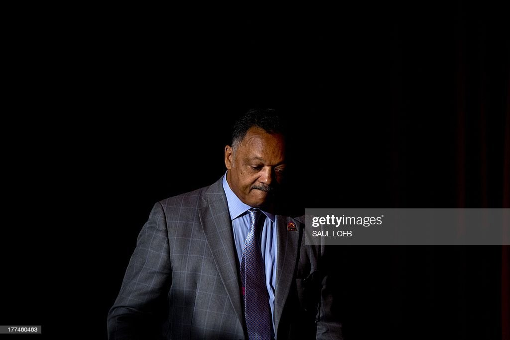 Reverend Jesse Jackson, Sr., founder of the Rainbow/PUSH Coalition, arrives to speak during the National Urban League's 'Redeem the Dream Summit' commemorating the 50th Anniversary of the March on Washington in Washington, DC on August 23, 2013. On Saturday, thousands are expected to participate in a march along the original 1963 route, and on August 28, US President Barack Obama takes the stage on the 50th anniversary of the march and Dr. Martin Luther King Jr.'s historic 'I have a dream' speech from the steps of the Lincoln Memorial. AFP PHOTO / Saul LOEB