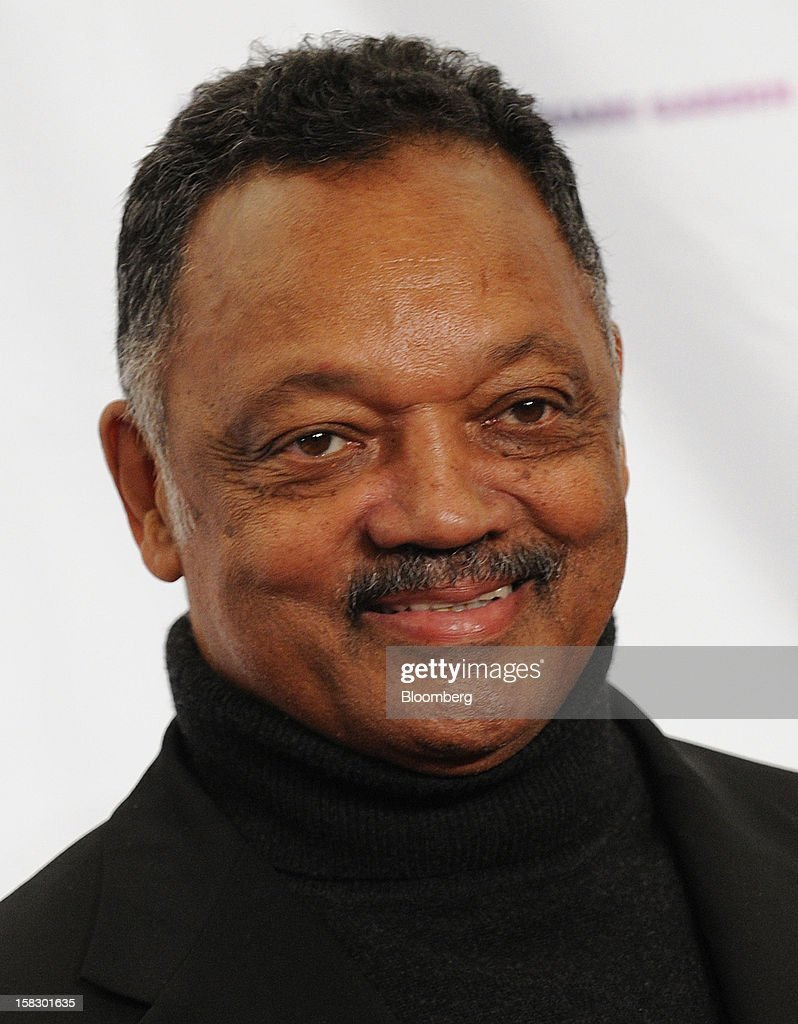Reverend Jesse Jackson stands for a photograph at the 12.12.12 Concert for Sandy Relief in New York, U.S., on Wednesday, Dec. 12, 2012. MSG Holdings Chief Executive James Dolan and John Sykes, president of CC Media Holdings Inc., joined film producer Harvey Weinstein to help assemble top music stars to perform for free to raise money for Hurricane Sandy victims. Chase, the consumer division of JPMorgan Chase & Co., agreed to become the concert's presenting sponsor. Photographer: Peter Foley/Bloomberg via Getty Images