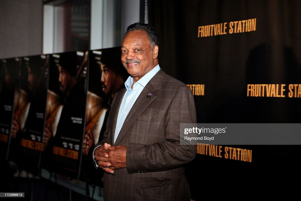 Reverend Jesse L. Jackson, poses for photos during the red carpet arrivals for the 'Fruitvale Station' movie screening at the Showplace ICON Theatres in Chicago, Illinois on JULY