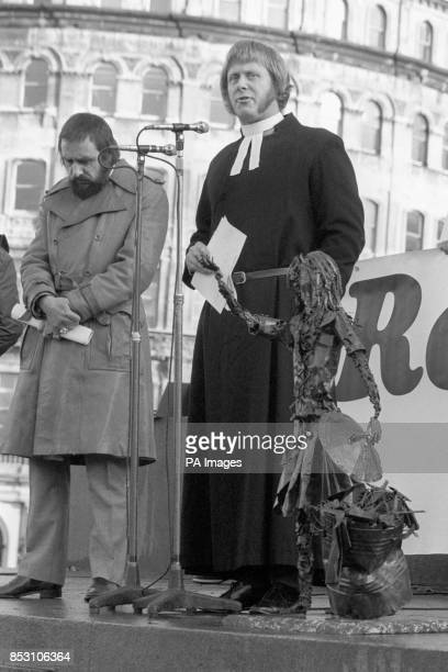 Reverend John Lambert addresses the public meeting in Trafalgar Square London during Maria Colwell Day The day is to remember the sevenyearold girl...