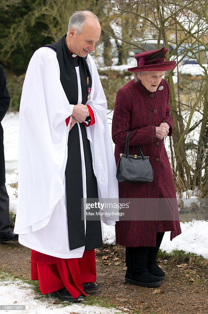 Reverend Jonathan Riviere and Margaret Rhodes (cousin of Queen Elizabeth II) attend Sunday Service along with Queen Elizabeth II at the Church of St Lawrence in Castle Rising near the Sandringham Estate on January 20, 2013 near King's Lynn, England.