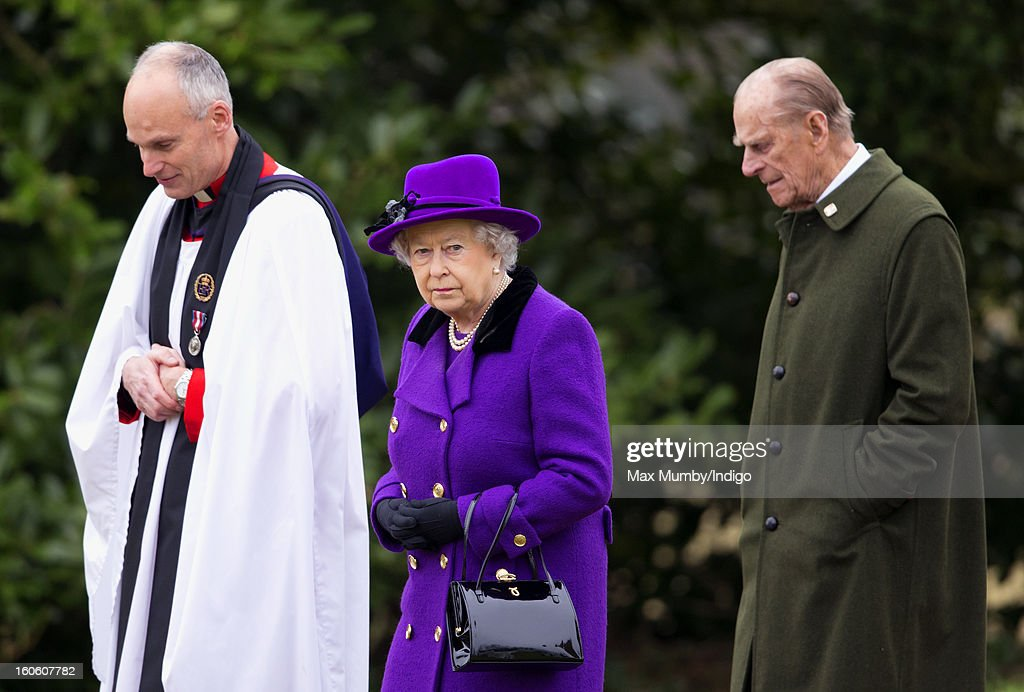 Reverend Jonathan Riviere, Queen Elizabeth II and <a gi-track='captionPersonalityLinkClicked' href=/galleries/search?phrase=Prince+Philip&family=editorial&specificpeople=92394 ng-click='$event.stopPropagation()'>Prince Philip</a>, Duke of Edinburgh leave the church of St Peter and St Paul in West Newton after attending Sunday service on February 03, 2013 near King's Lynn, England.