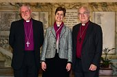 Reverend Libby Lane poses for pictures with Bishop of Birkenhead Keith Sinclair and Bishop of Chester Peter Forster during a photo call following the...