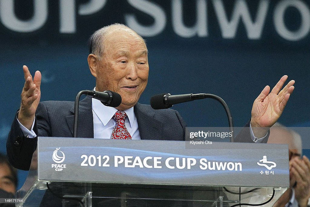 Reverend Moon Sun Myung, founder of the Unification Church, speaks during the opening ceremony prior to the Peace Cup match between Seongnam Ilhwa Chunma and Sunderland at Suwon World Cup Stadium on July 19, 2012 in Suwon, South Korea.