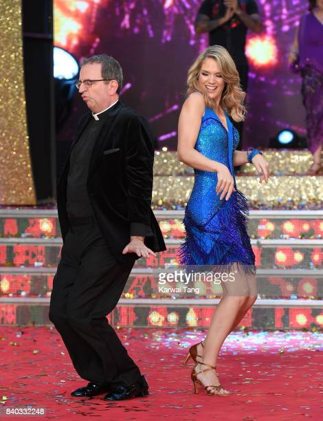 Reverend Richard Coles and Charlotte Hawkins attend the 'Strictly Come Dancing 2017' red carpet launch at Broadcasting House on August 28 2017 in...