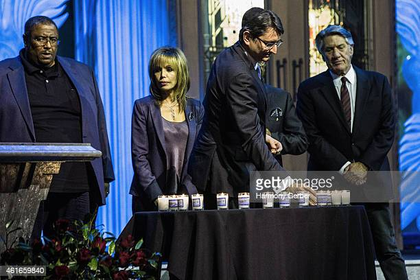 Reverend Ronald V Meyers Sr Stephen Macht and Axel Cruau attend Shabbat Service Honoring Paris Terrorist Victims And The Legacy Of Dr Martin Luther...