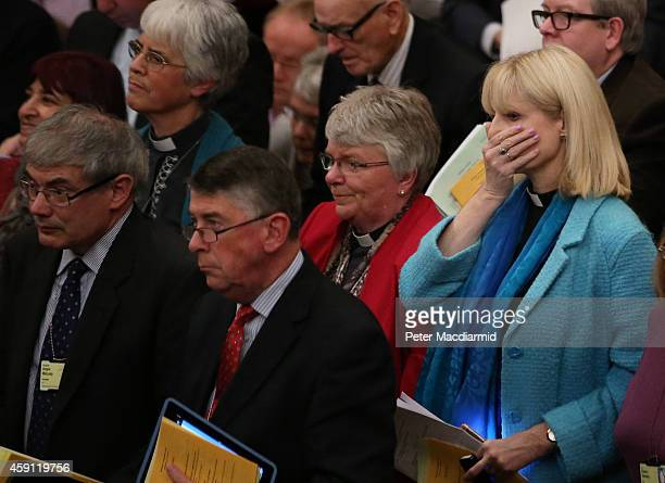 Reverend Rosie Harper reacts after her fellow clergy confirmed an amendment on acceptance of women Bishops at The General Synod on November 17 2014...